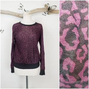 Loft purple cheetah semi sheer sweater top